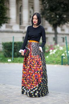 beautiful printed long skirt with a simple black top