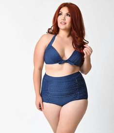 13e2e5a1d2a Unique Vintage Plus Size Navy   White Pin Dot Monroe Bikini Top