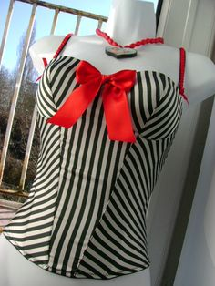 2e236570ee vintage 1980s black and white cream striped sailor gal corset. fitted under  the bust