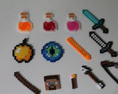 Items similar to Minecraft Perler Bead Cake Toppers-Keychains-Backpack Hangers on Etsy Minecraft Pattern, Hama Beads Minecraft, Minecraft Crafts, Diy Perler Beads, Perler Bead Art, Crochet Lego, Perler Bead Disney, Iron Beads, Melting Beads