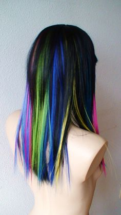 Rainbow Ombre/black wig. Long straight  hair/ rainbow highlights. High quality stylish wig.. $98.80, via Etsy.