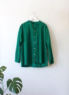 Vintage Men's Marimekko Piccolo Green Striped Button Up Shirt // Mandarin Collar // Long Sleeve Blouse // Finnish Clothing // Medium