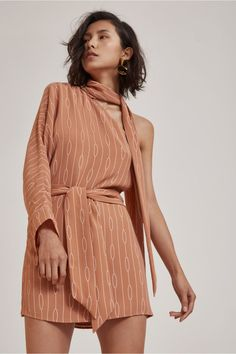 EVERLASTING ONE SHOULDER DRESS biscuit chain print | C/MEO COLLECTIVE | BNKR
