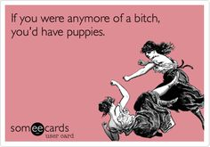 If you were anymore of a bitch, you'd have puppies.