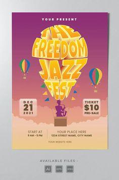 Jazz Festival Poster Template AI, EPS Jazz Festival, Festival Posters, Street Names, Poster Templates