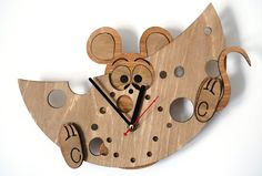 Hungry mouse wooden wall clock wood clock gift woodandroot christmas kitchen decor nursery xmas mouse cheese food 34.00 USD #goriani