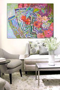 Beautiful Floral Paintings Inspire Home Decor Copper Paint, Home Decor Fabric, Zinnias, Inspired Homes, Jewel Tones, Dream Bedroom, Table Linens, Wildflowers, Pastel Colors