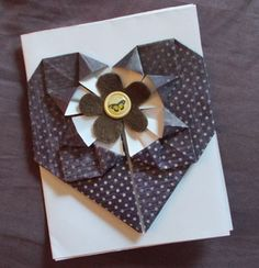 Card making projects are a great way to build your paper folding skills.: Origami Heart Note Cards