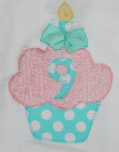 like Birthday Cupcake Shirt- Pink and Aqua. $20.00, via Etsy.