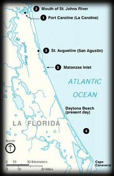 (12) Map of the North Florida Coast: 111 Frenchmen were killed; only 16 were spared: few who professed being Catholic, some impressed Breton sailors and 4 artisans needed at San Agustin.Two weeks later the sequence of events was repeated. More French survivors appeared at the inlet, including Jean Ribault. On October 12 Ribault and his men surrendered and met their fate, again refusing to give up their faith. This time 134 were killed.