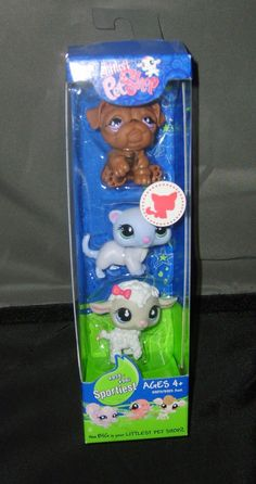 Littlest Pet Shop 3 Pack #879 Lamb #880 Ferret #881 Bulldog NIB 2008  #Hasbro