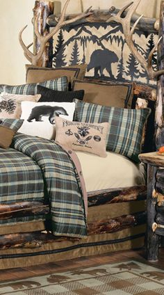 log cabin - rustic style decorating - Cabin decor - bear decor - camping in the northwoods style - Antler decor - log cabin boys theme bedroom - Cabin Bedding - Rustic Bedding - rustic furniture - cedar beds - log beds - LOG CABIN DECORATING IDEAS - Swiss Rustic Bedroom Design, Rustic Bedroom Furniture, Bedroom Decor, Log Furniture, Tuscan Furniture, Master Bedroom, Lodge Bedroom, Theme Bedrooms, Reclaimed Furniture