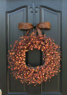 Pumpkin Pie - Fall Berry Wreath - Harvested Berries - Orange Berry Wreaths - Halloween Decor - Front Door Display. $75.00, via Etsy.