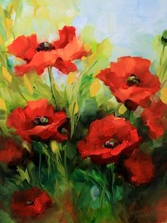 Crepe Paper Poppies and a Dallas Arboretum Workshop by Texas Flower Artist Nancy Medina, painting by artist Nancy Medina