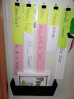 Poetry Center - each binder clip holds a poem with the title on top; can read poems in a binder, assemble poems in pocket chart, highlight rhyming words, draw picture of mental images envoked by poems