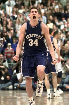 Story: Top 10 Kentucky 'payback' games of all time http://www.kentucky.com/2012/03/22/2121925/top-10-kentucky-payback-games.html In this photo, Scott Padgett celebrates his game winning 3 pointer that beat Duke in the NCAA South Regional Final in St. Petersburg on Sunday March 23, 1998. CHARLES BERTRAM — LEXINGTON HERALD LEADER