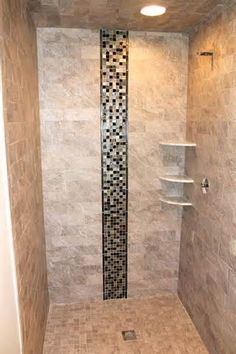 Tile long walls and waterfalls on pinterest for Waterfall tile design