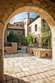 Mediterranean, lifestyle, decor, home, house, architecture, style, covered in rocks, pebble path, driveway, pool, arches, greece, italy, italian decorating  (2)