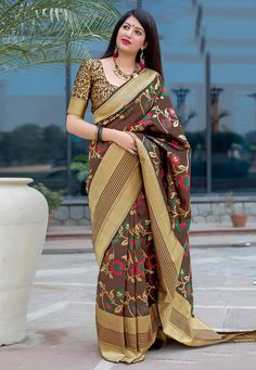 Beautiful Art Silk saee with floral Woven work on the saree. The saree great for gift and wear for wedding, function, event, party or as you want. saree with matching blouse piece. Sabyasachi, Lehenga, Beau Sari, Designer Sarees Online, Soft Silk Sarees, Fancy Sarees, Traditional Sarees, Banarasi Sarees, Indian Beauty Saree
