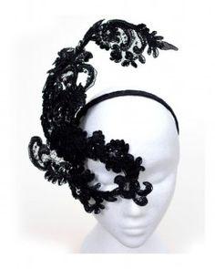 Unique Designer Vogue Style Black Beaded Lace One Eye Headband Masquerade Mask 1f