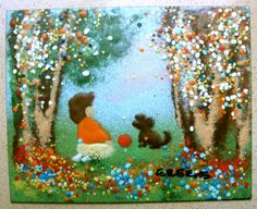 SIGNED Mid Century Enamel on Copper Painting by by JackpotJen, $78.00