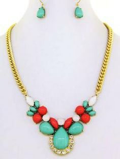 Mint Green and Red Necklace Earrings Set by ElegantExpressionsCo, $20.00