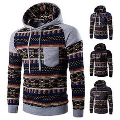 Cozy Mens Hoodies Retro Ethnic Style Pattern Printing Front Pocket Casual Sport Hooded Tops -mens hoodies- sport hoodies- casual hoodies- ethnic style hoodies mens- mens sport hoodies- mens hooded tops