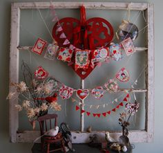 a vintage valentine layered on cardstock scraps and other ephemera makes for super cute holiday decor wwwvintagestreetmarketcom pinterest other - Vintage Valentine Decorations
