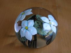 Gorgeous John Daniel Lotton Art Glass Paperweight 3 Flowers Leaves Signed Dated