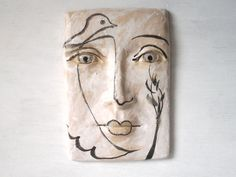 Black and white - tile - woman with bird - ceramic wall art - Picasso neo-classical style -  Louise Fulton Studio