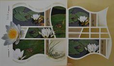 """Je vous présente une double page découpée avec le gabarit """"Ile Maurice"""" , j'ai réalisé une fenêtre avec les formes du gabarit pour faire apparaitre la photo de dessous quelques morceaux de papier , de la craie, les tampons """"grenouilles"""", de l'encre et le gabarit décor """"ronds"""