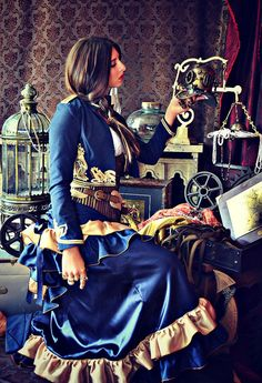 Victorian Steampunk Sky Captain Bustle Skirt and by WaterlilyWorks