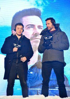 Hugh Jackman and Taron Egerton at Eddie the Eagle China Press conference 2016.03.09