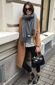 Camel cardigan leggings t shirt ankle boots gray scarf Fall spring