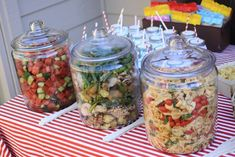 When your party is outside, put your salads in large glass jars with lids. No bugs. Great idea! And you could put an ice tray underneath to keep them cold. Best part is: throwing the jars and lids in the dishwasher when you're done