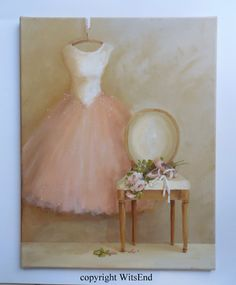 'AFTER THE DANCE'.  Tutu and chair painting original ooak ballet  Gown, shoes, roses.  by 4WitsEnd via Etsy