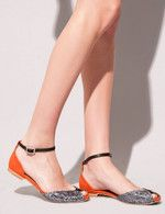 flat sandals (close toe): burnt orange with a silvery toe