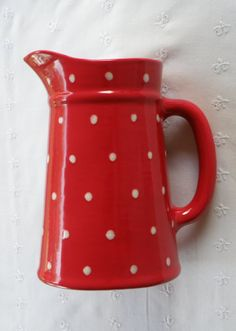 Red With White Polka Dots Pitcher    New by vdavidsonpottery, $14.99