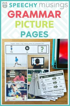 Grammar Picture Pages for Speech Therapy Grammar Activities, Speech Therapy Activities, Language Activities, Shape Activities, Group Activities, Receptive Language, Speech Language Pathology, Speech And Language, Pronoun Examples