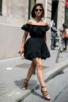 Street looks défilés haute couture : petite robe noire