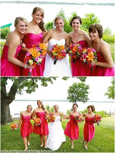 What a cute combination - strapless, cocktail length, hot pink, bridesmaid dresses with bright summer bouquets of orange lily's, pink roses, hot pink gerbera daisies, green hydrangea and berries. Image taken at Seven Seas Restaurant in Hartland, Wi.