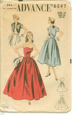1950 Vintage Womens Strapless Prom Dress Pattern With Bolero Jacket And 2 Skirt Lengths Advance 6547 Sz 9 Formal Dress Patterns, Vintage Dress Patterns, Vintage Dresses, Vintage Outfits, Clothing Patterns, Vintage Clothing, Rockabilly Clothing, Fifties Fashion, Vintage Fashion