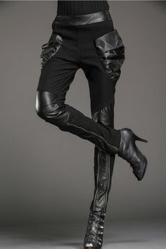 "sekigan: "" Women Punk Harem Elastic Skinny Pants Trousers Black Splicing Leather… """