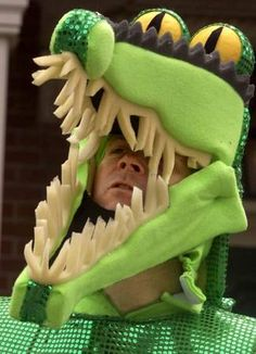 I wish I could make this hat... whoever was the crocodile could just wear all green, this hat, the clock and I'd make a tail since those are easy.