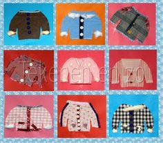 Tekenen en zo: winterjas Benodigdheden: patroon winterjas/ stof/ knopen/ bandjes/ restjes stof/ dunne en dikke naalden/ restjes wol/ naaigaren/ textiellijm/ karton