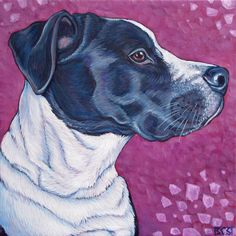 Smuckers the English Bulldog and Black Lab Mixed Breed Dog Custom Pet Portrait Painting in Acrylic Paint