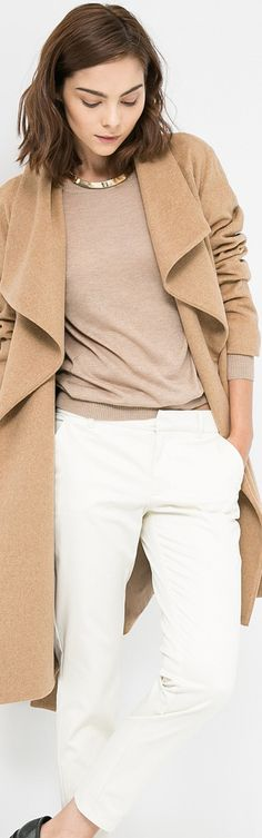 women clothes fashion style outfit apparel camel coat white pants blouse fall outfit
