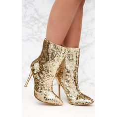 f10ff2387eba Gold Sequin Heeled Ankle Boot ( 52) ❤ liked on Polyvore featuring shoes