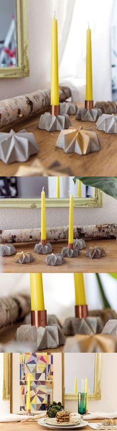 Concrete Candle Stick with Copper on Etsy / Betonkerzenhalter Kerzenständer aus Beton & Kupfer von TWOBOLD