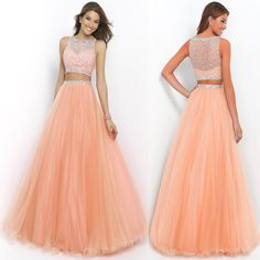 New 2015 Two Piece Prom Dresses Beading Sexy Long Formal Evening Party Gown #Handmade #Sexy #Formal